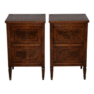 Pair of Magnificent Late 18th to Early 19th Century Walnut Side Tables W/ Cabinets For Sale