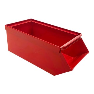 1940s Industrial Mail Bin, Refinished in Gloss Red For Sale