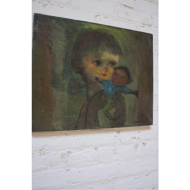 Folk Art Karnig Nalbandian 'Blue Doll' Oil on Canvas, 1953 For Sale - Image 3 of 11