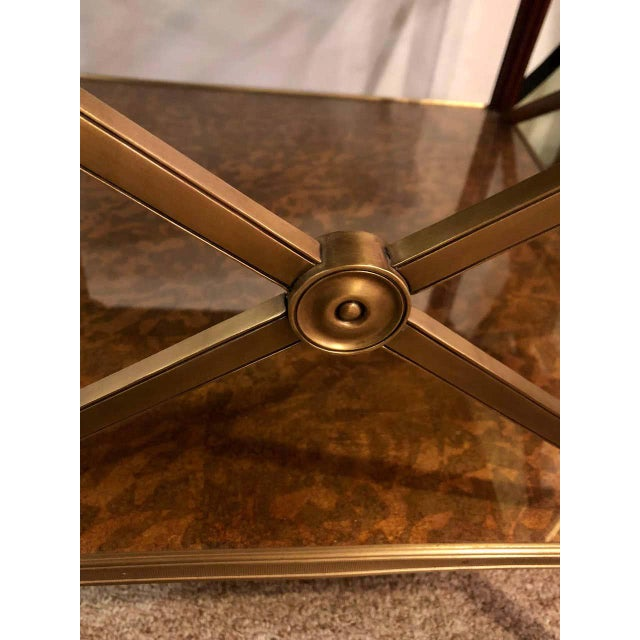 Metal Hollywood Regency Bronze Decorated End Table X-Base Sides Tortoise Glass Top For Sale - Image 7 of 11