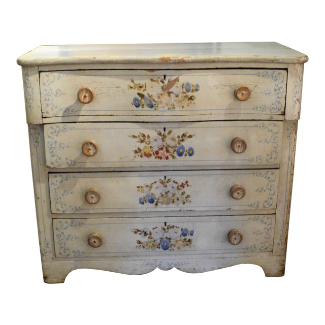 Shabby Chic Antique Painted Floral Dresser - Shabby Chic Antique Painted Floral Dresser Chairish