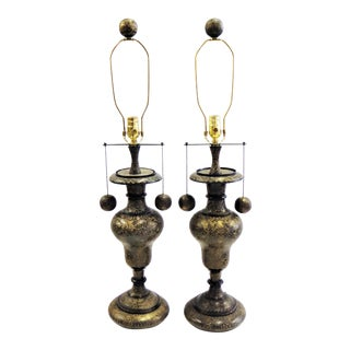 1970s Arabesque Anglo Indian Floral Carved Patinated Brass Table Lamps - a Pair For Sale