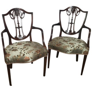 19th Century Hand Carved Hepplewhite Armchairs- A Pair For Sale