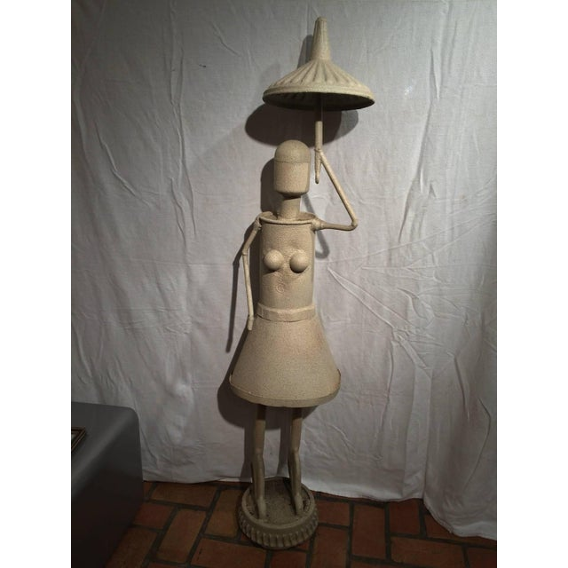 Industrial Industrial Woman With Umbrella Sculpture For Sale - Image 3 of 11