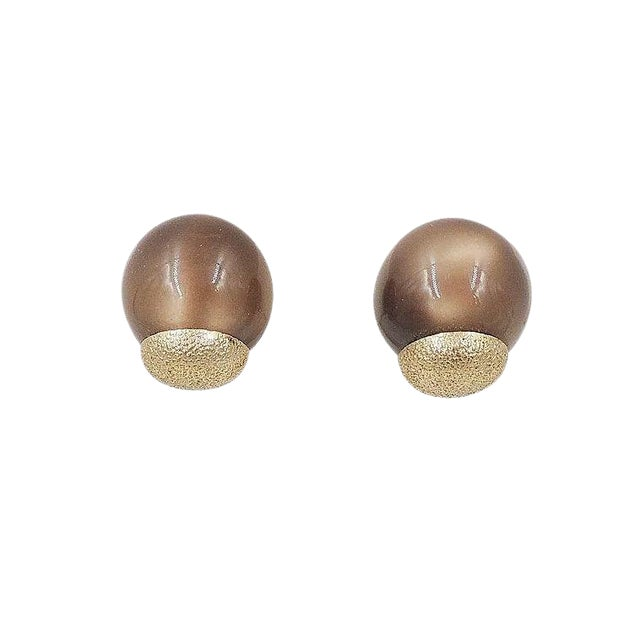 1950s Napier Brown Moonglow Textured Earrings For Sale