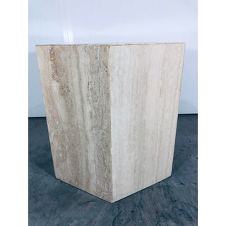 1970s Mid-Century Modern Hexagonal Italian Travertine Pedestal or Side Table Preview