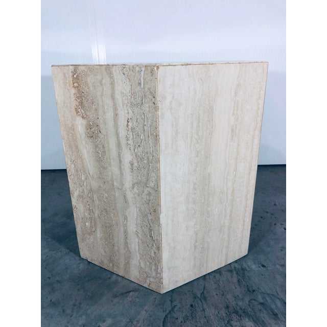 Italian Travertine Modern hexagonal small pedestal or side table. From the 1970s.