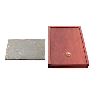 Mid-Century Modern David Barr Table Sculpture Metal Fibonacci Sequence in Wood Box For Sale