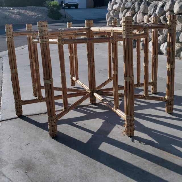 1990s 1990s Boho Chic Large McGuire Octagonal Bamboo and Rattan Dining Table Base For Sale - Image 5 of 9