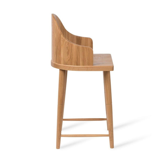 Transitional Scooped Back Counter Stool in Natural Oak For Sale - Image 3 of 5