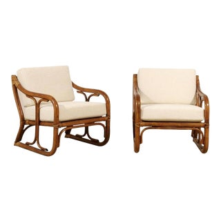 Restored Pair of Vintage Modern Rattan Loungers For Sale
