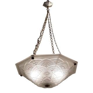 Plaffonier Geometric Hanging Glass Chandelier For Sale