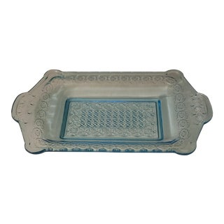 Antique Blue Early American Pressed Glass Tray For Sale