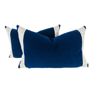 Indigo Blue Velvet Pillows - A Pair For Sale
