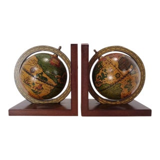 Vintage Italian Olde World Globe Bookends ~ a Pair