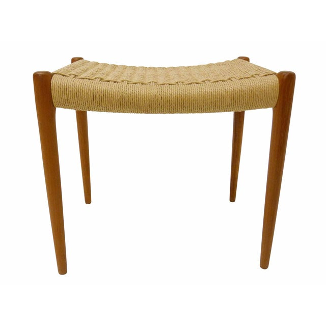 Jl Moller Danish Modern Rush & Teak Bench - Image 1 of 4