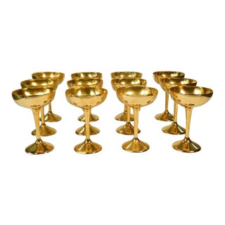 International Silver Co. Vintage Gold Champagne Goblets - Set of 12 For Sale