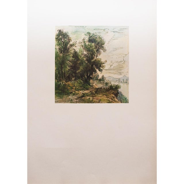 Excellent vintage lithograph after pen and watercolor painting River Landscape by Theodore Rousseau. Marked with the stamp...
