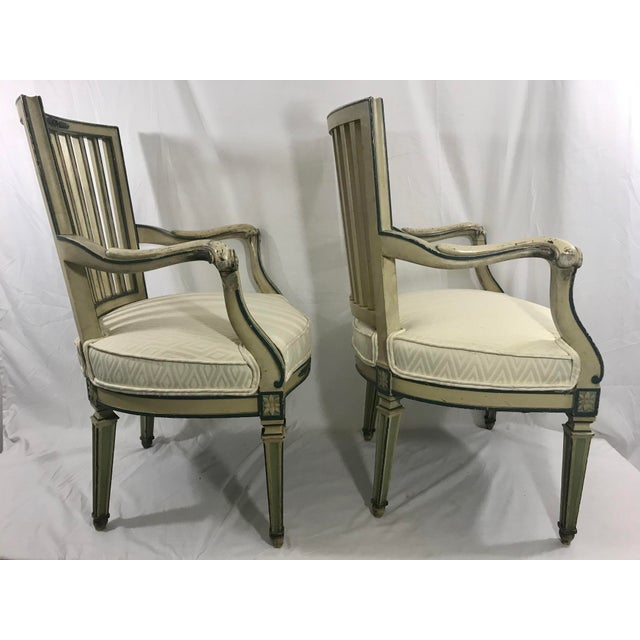 Antique White Classical Italian Dining Chairs Set of 4 For Sale - Image 8 of 12