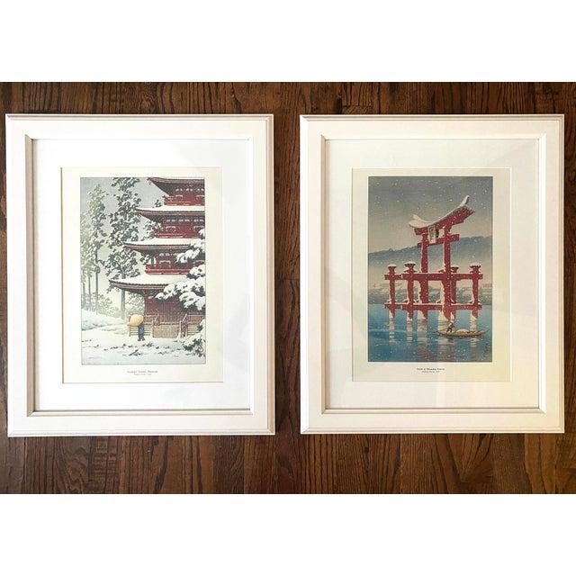 Set of two framed Japanese Woodblock Reproduction Prints by Kawase Hasui. 1. Snow at Miyajima Shrine, Kawase Hasui, 1921...