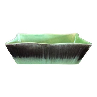 Vintage Covina Pottery Green and Plum Drip-Glazed Scalloped Edge Planter For Sale