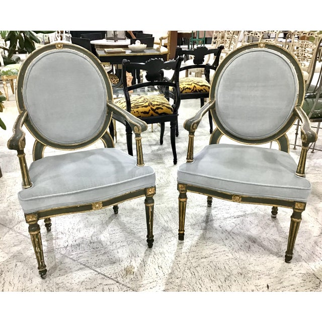 Pair of 18th Century Italian Neoclassic Armchairs For Sale - Image 12 of 13