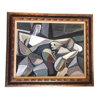 Original Stewart Ross Modernist Boxer Painting