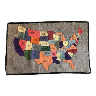 American Folk Art Multicolored Hooked Rug of the Continental United States For Sale