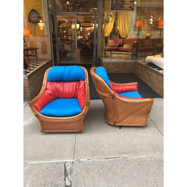 1960s Mid Century Modern Maguires Style Red and Blue Upholstered Rattan and Bamboo Outdoor Swivel Chairs - a Pair For Sale - Image 11 of 11