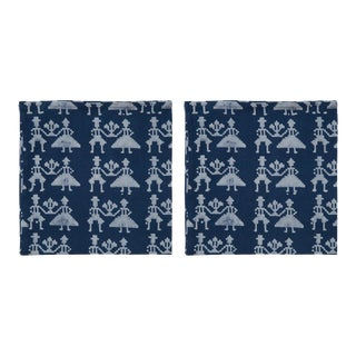 Countryside Two -some Napkins, Indigo - A Pair For Sale