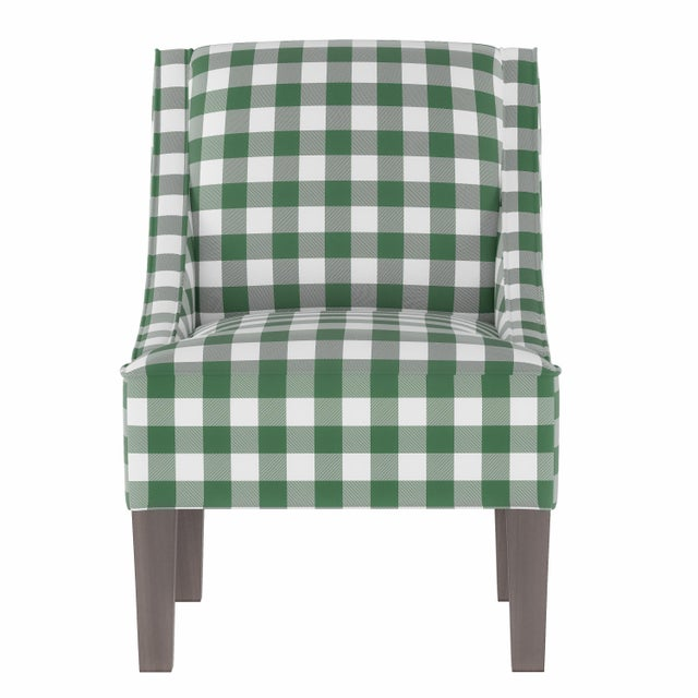 Textile Swoop Arm Chair in Classic Gingham Evergreen Oga For Sale - Image 7 of 7