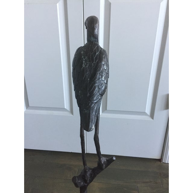 Black Marble Early 20th Century Antique Bronze Heron Sculpture For Sale - Image 7 of 13