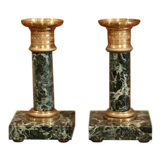 Pair of Early 20th Century French Empire Bronze and Marble Candleholders