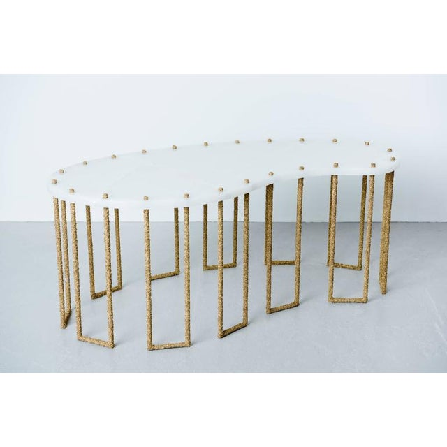 Contemporary Hand Made Brass Shavings Coffee Table with Onyx Top, by Samuel Amoia For Sale - Image 3 of 9