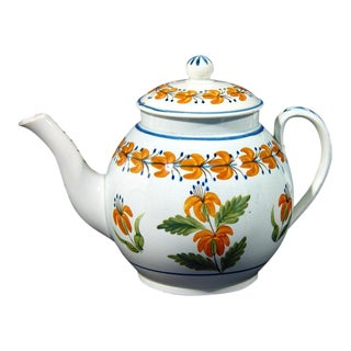English Pottery Pearlware Teapot Decorated With Unusual Prattware Orange Flowers For Sale