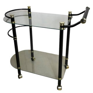 Mid-Century Black Glass Rolling Bar Cart Trolley For Sale