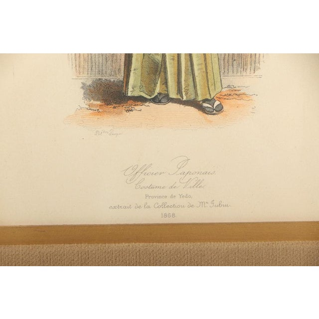 Vintage 19th Century Japanese Costumes Hand Colored French Intaglio Prints - a Pair For Sale - Image 9 of 11