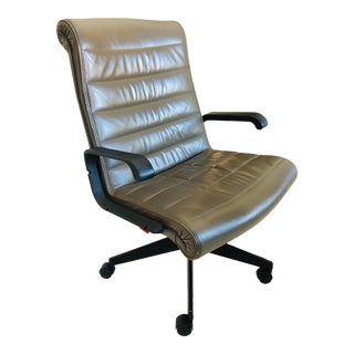 Knoll Modern Olive-Green Leather Executive Chair For Sale