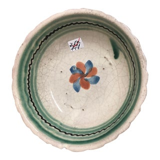 Vintage Mexican Ceramic Pozole Bowl Hand Painted Spiral Flower Petal Design For Sale
