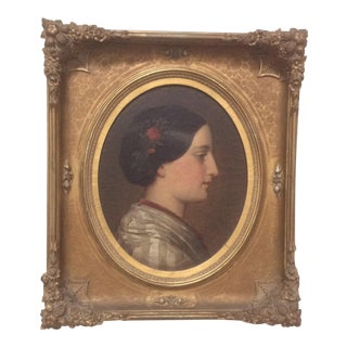 Pretty Antique Portrait Painting of a Young Woman For Sale
