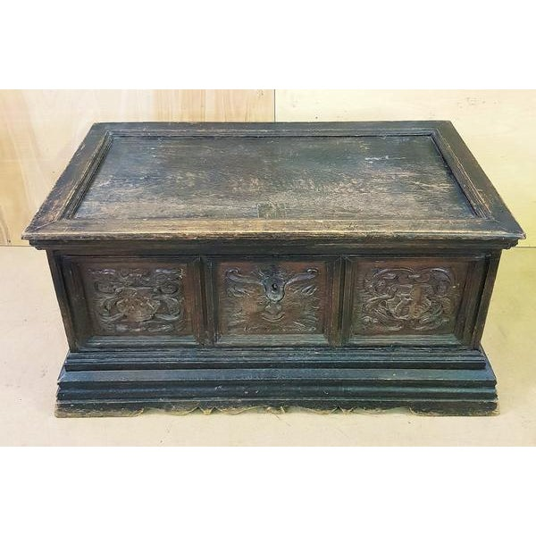 French 18 Century Antique Hand Carved Solid Oak European Treasure Chest Trunk For