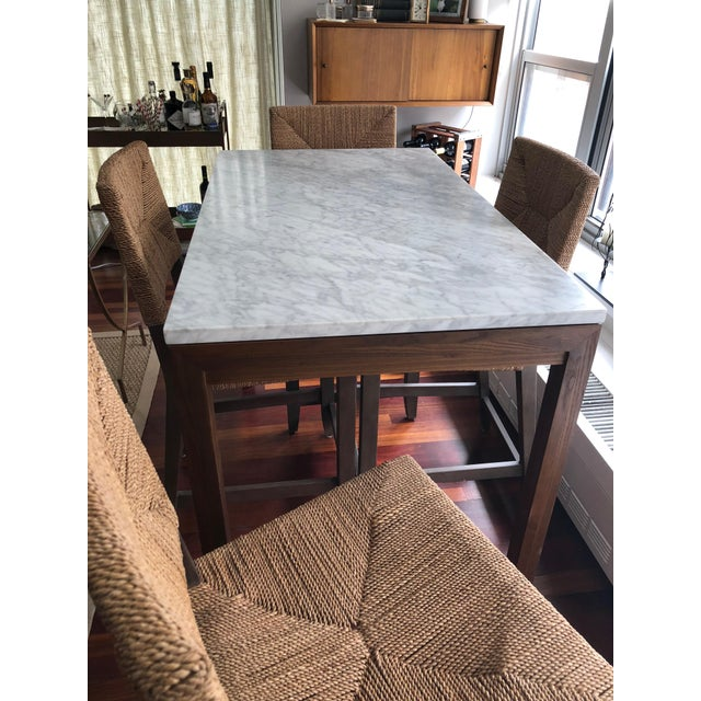 Crate & Barrel Parsons White Marble Top/ Elm Base Dining Table For Sale - Image 4 of 8