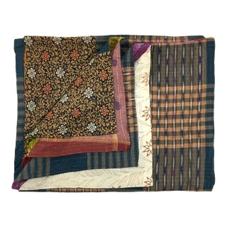 Rug & Relic Subdued and Boldly Hued Kantha Quilt
