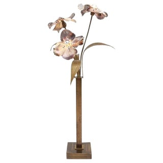 Willy Daro Mother-Of-Pearl and Bronze Floral Floor Lamp For Sale
