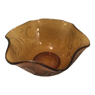 1960s Mid-Century Modern Amber Tiara Glass Serving Bowl For Sale