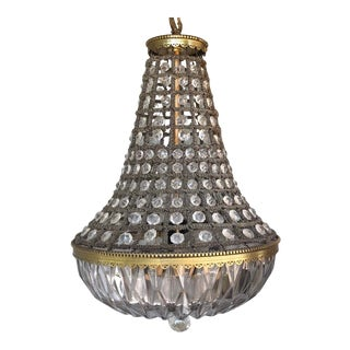 Early 20th Century 2-Light Rewired Empire Crystal Chandelier For Sale