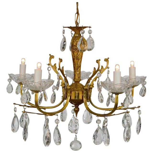 Brass & Crystal Chandelier For Sale - Image 10 of 10