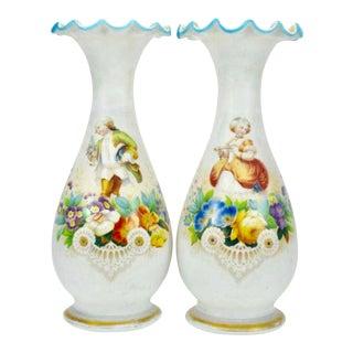 Antique Bristol Glass Satin Hand Painted Vases - Set of 2 For Sale