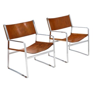 Italian Chrome and Leather Modern Armchairs - a Pair For Sale