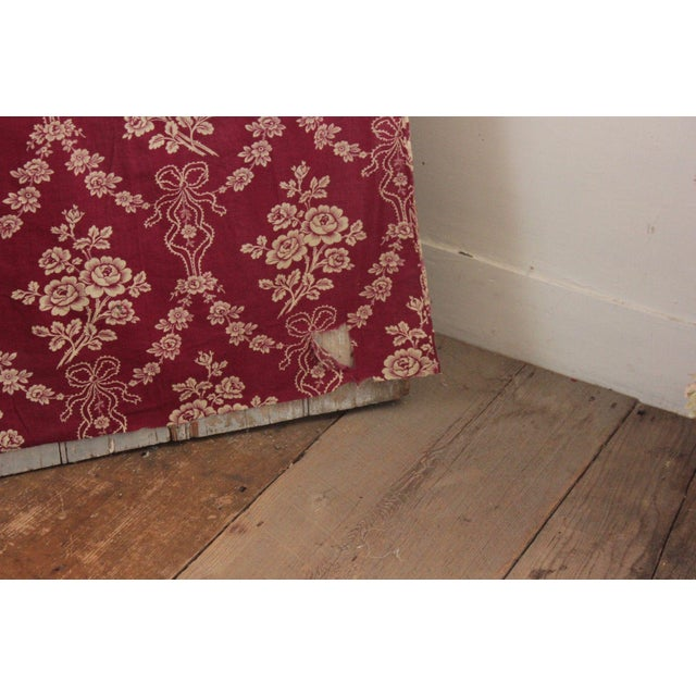 """Antique 1890s French Burgundy Ribbon & Floral Printed Cotton Fabric - 32"""" X 63"""" For Sale - Image 4 of 5"""
